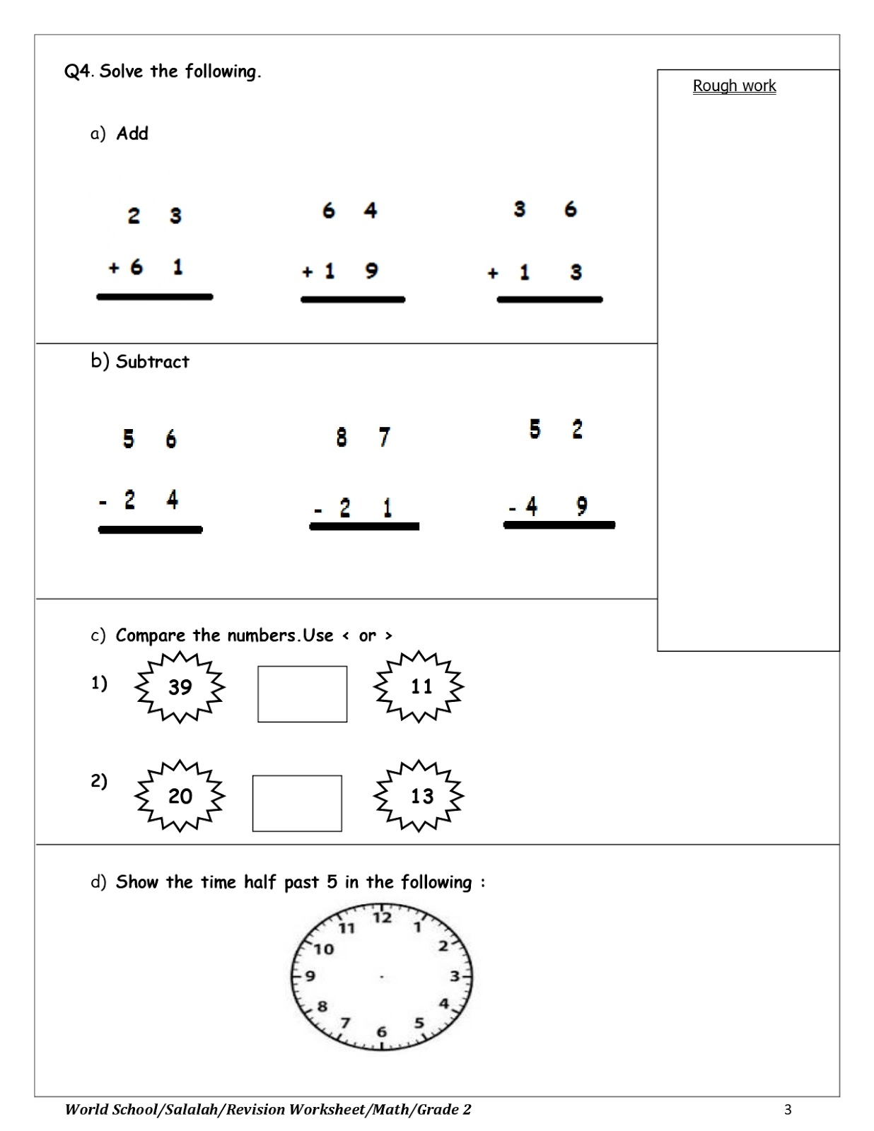 Birla World School Oman Revision Worksheet For Grade 2 23