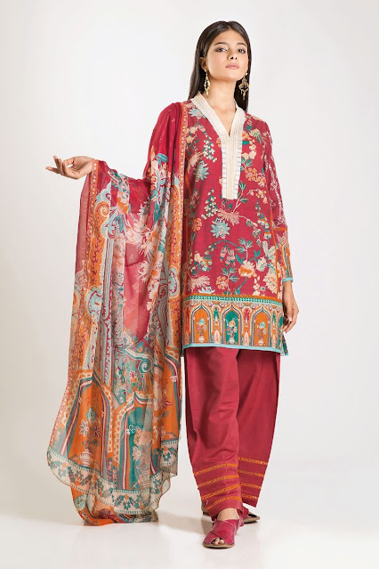 khaadi winter printed khaddar red color 3 piece suit