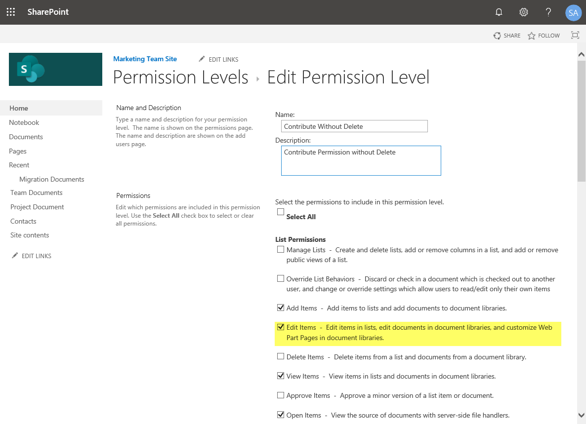 sharepoint online change permission level