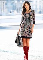 Rochie tricotată cu imprimeu