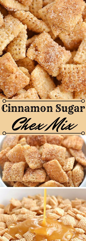 Cinnamon Sugar Chex Mix #desserts #cakes #sugar #party #cinnamon