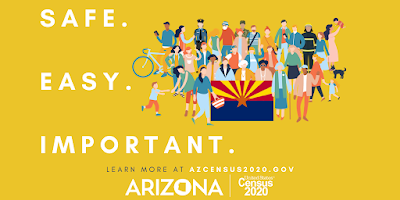 "Graphic reads, ""Safe. Easy. Important."" Displays a illustration of a group of people holding the Arizona state flag."