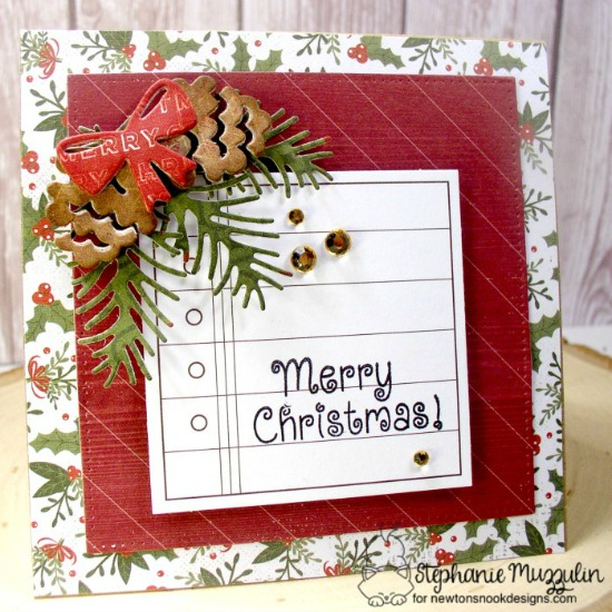 Pinecone Christmas Card by Stephanie Muzzulin | Pines & Holly Die set by Newton's Nook Designs #newtonsnook