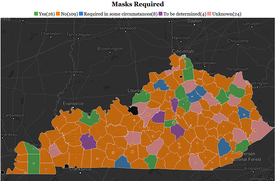 Most Kentucky school districts do not require masks