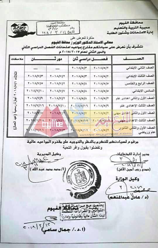 جداول إمتحانات نصف العام الترم الأول محافظة الفيوم جميع الصفوف 2021