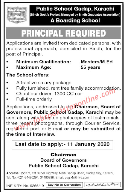 Teaching Jobs in Sindh for the post of a PRINCIPAL latest 2019-2020