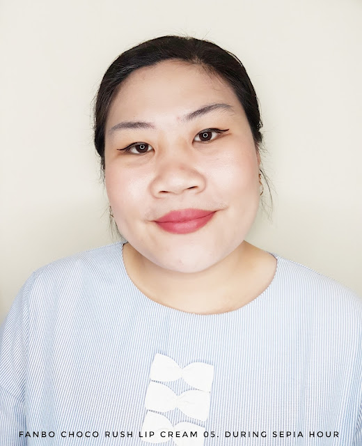 Review Fanbo Choco Rush Lip Cream 05. During Sepia Hour