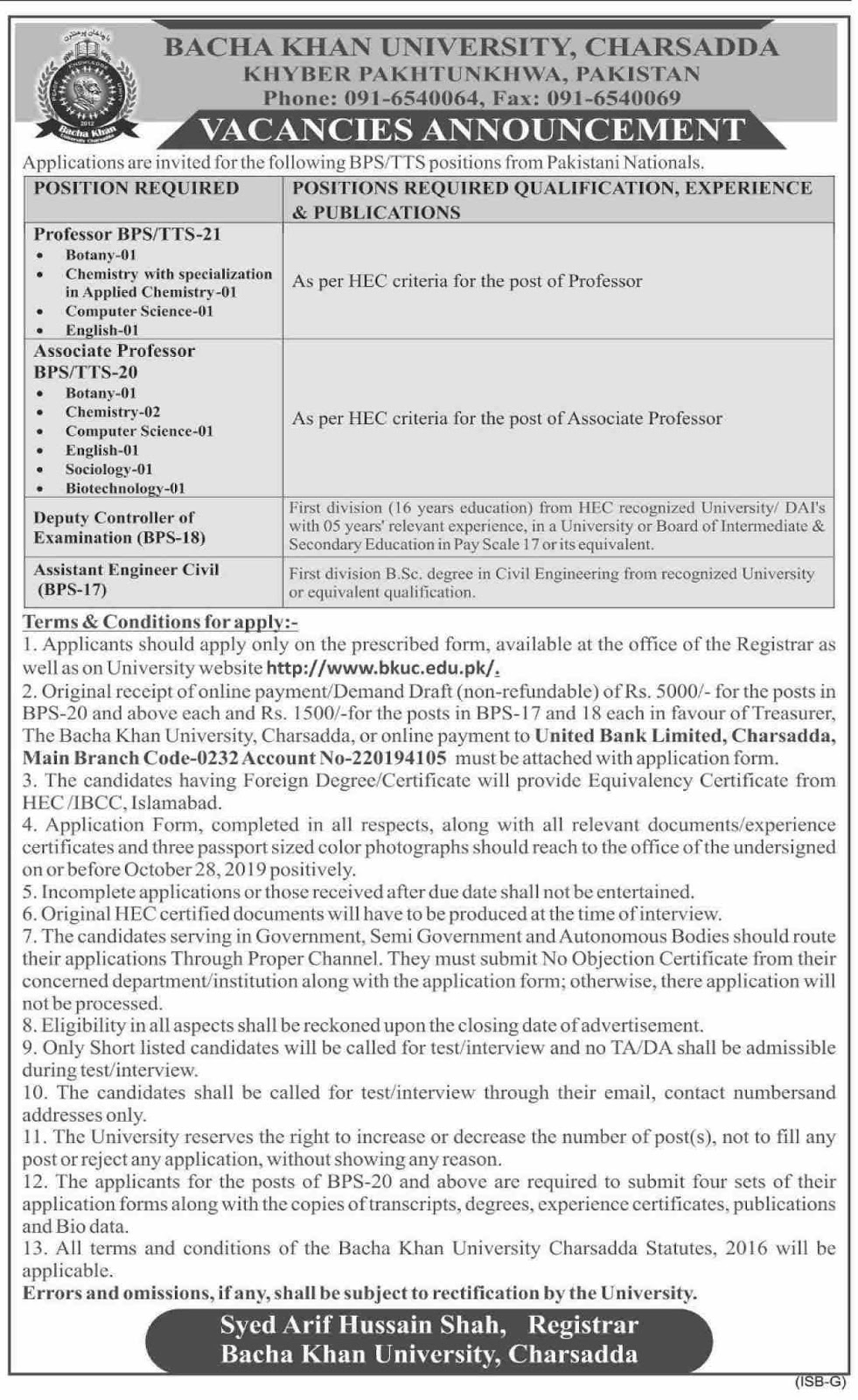 Jobs in Charsadda in Bacha Khan University 2019