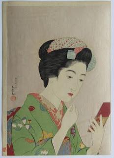 橋口五葉 紅筆を持てる女 木版画(新版画)の浮世絵版画販売買取ぎゃらりーおおのです。愛知県名古屋市にある浮世絵専門店。