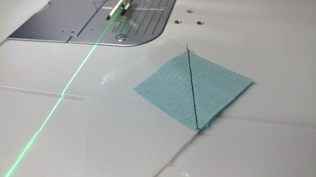 Sewing stitch-n-flip corners with a sewing machine laser