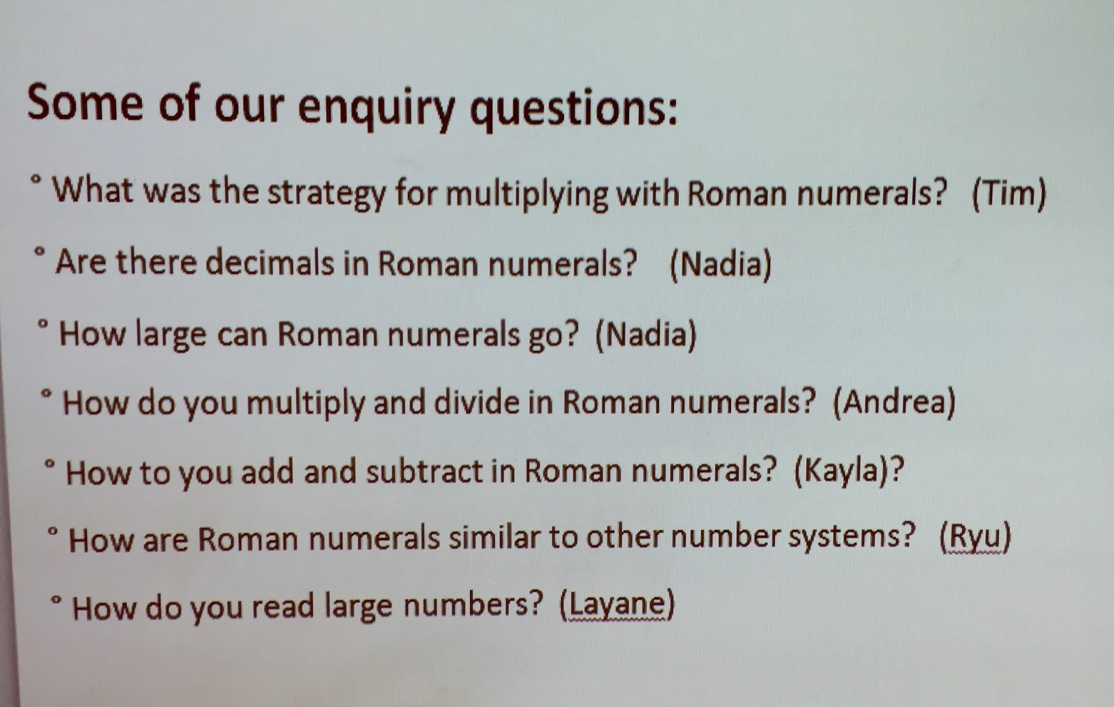 Enquiry Based Maths Enquiring Into Roman Numerals