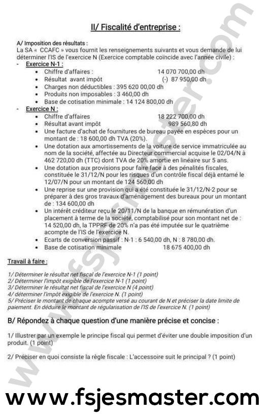 Exemple de Concours Master Comptabilité Contrôle Audit (CCA) 2020-2021 Formation Continue - Fsjes Ain Chock