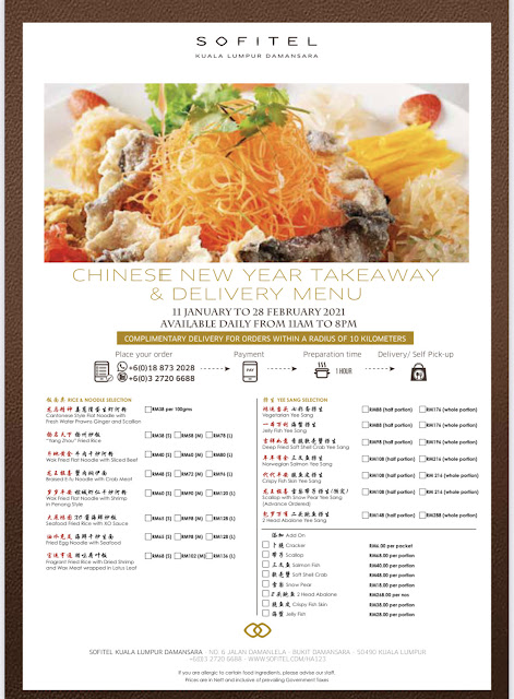 Sofitel KL Chinese new Year Takeaway & Delivery Menu