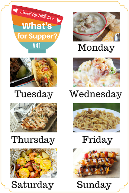 Crock Pot Potato Soup, Shrimp and Sausage Foil Packets, Cheddar Biscuits, Toffee Apple Dip, and more are featured in What's for Supper Sunday over at Served Up With Love.