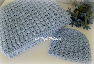 Newborn Boy Easy Baby Afghan and Hat, $6.99