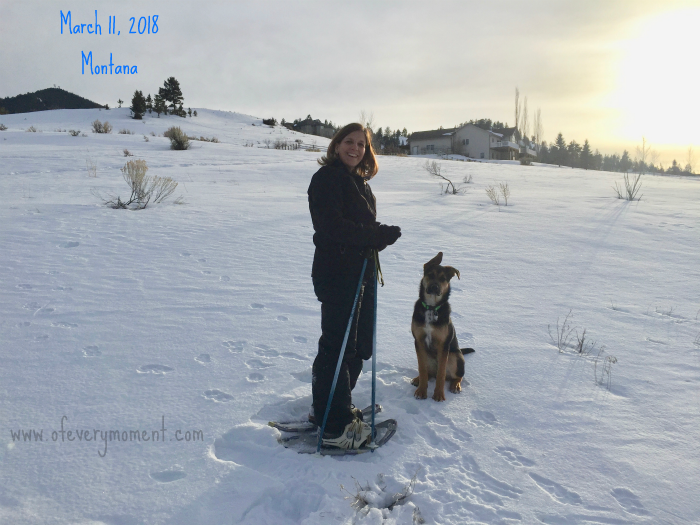 Snowshoeing our Montana property with our puppy