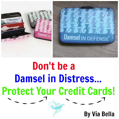 Damsel in Defense, Product Review, Don't be a Damsel in Distress-Protect Your Credit Cards, Protecting your identity, protect yourself, Via Bella, hard shelley, damsel in defense hard shelly, credit cards, Keri Allan