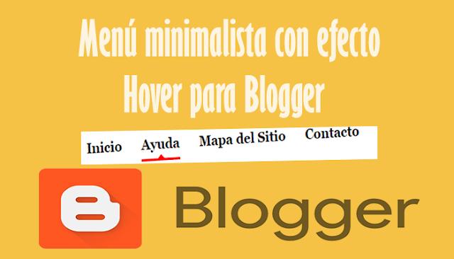 Menú minimalista con efecto Hover para Blogger