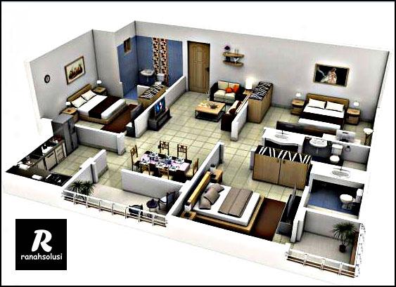 Desain Rumah Minimalis 3 Kamar Luas Tanah 6x10