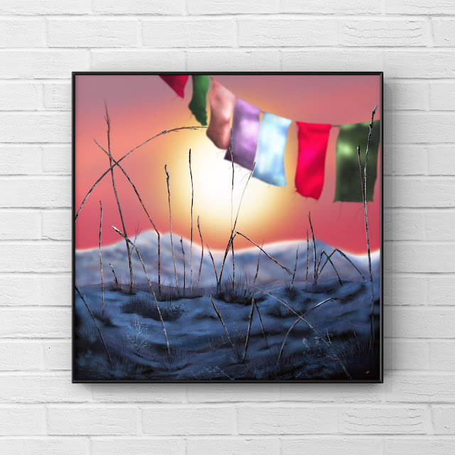 mountain, prayer flags, snow, artwork by Mark Taylor