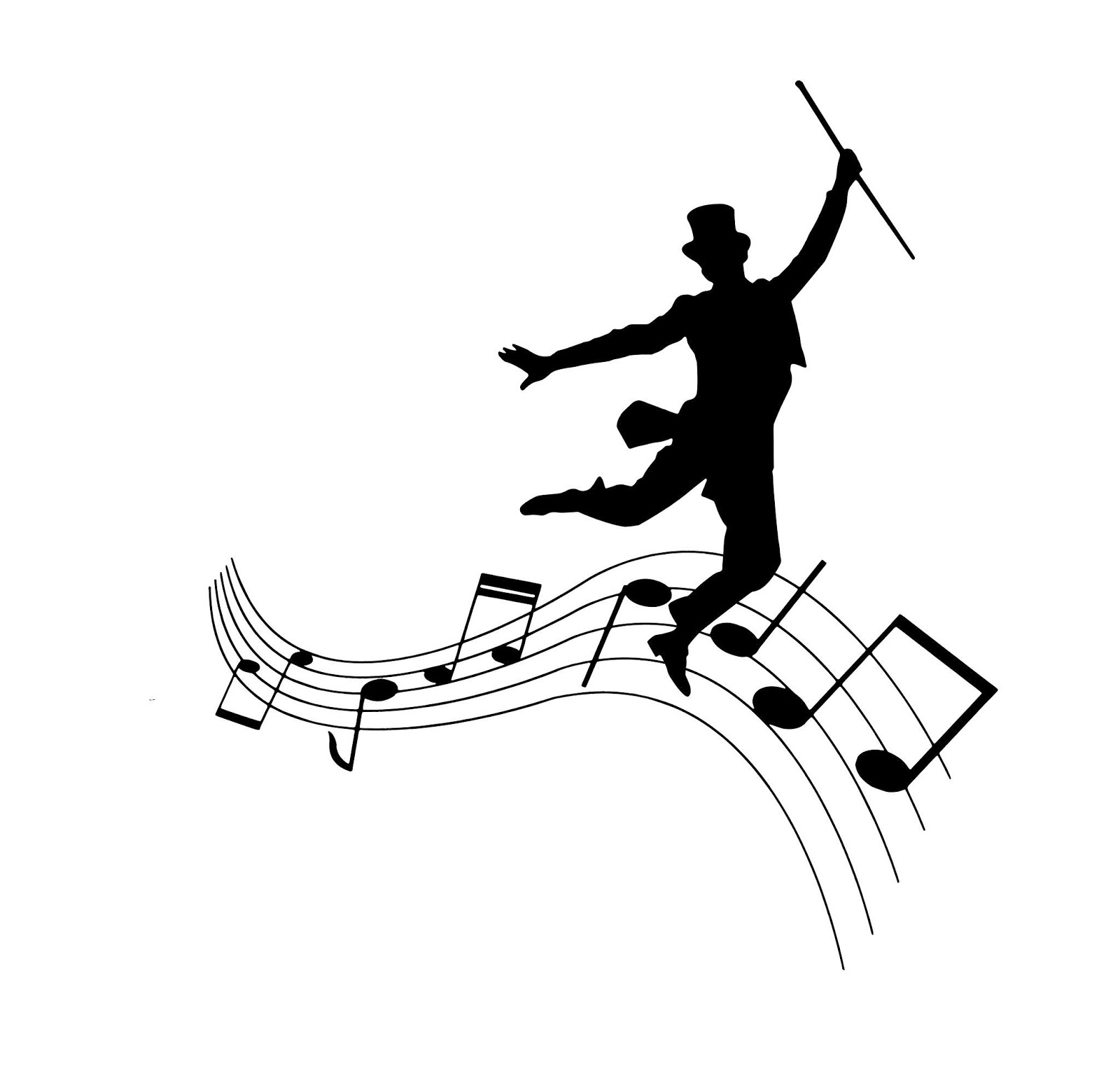 Illustration of dancing and singing party silhouette