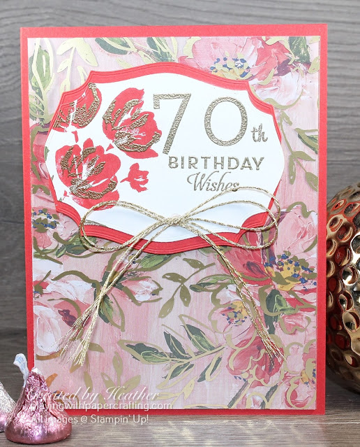 70th birthday card using fine art floral suite 2