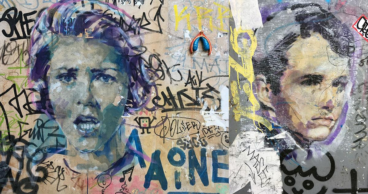 dos grafitis callejeros; autor desconocido
