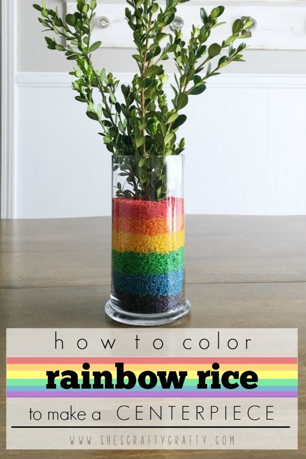How to color rice in Rainbow Colors to make an Easy and Inexpensive Table Centerpiece