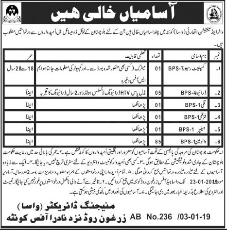 Jobs in Water and Sanitation Authority WASA Jan 2019
