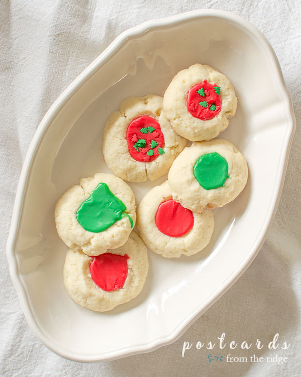 thumbprint cookies decorated for Christmas