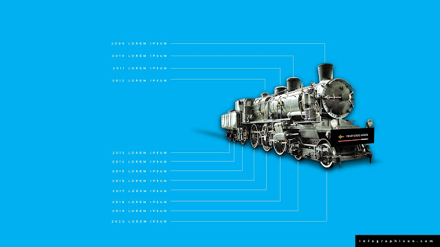 Timeline Infographic Elements with Locomotive in Blue Background Slide 1