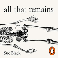 All That Remains: A Life in Death audiobook cover. The midsection of a skeleton laying horizontally.