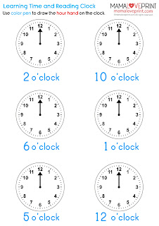 Mama Love Print 自製工作紙 - 認識時間和閱讀鐘面 Level 1 - 學習時針 Learning Time and Reading Clock - Learning Hour Hand Time Worksheets for Kindergarten Printable Learning Resources for Homeschooling Parents
