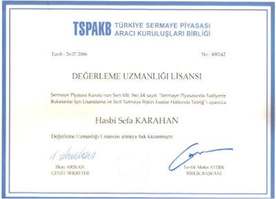 TSPAKB Türkiye Sermaye Piyasası Aracı Kuruluşları Birliği 'Değerlendirme Uzmanlığı Lisansı