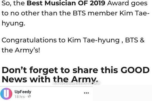 BTS V Terpilih Sebagai Musisi Pop Terbaik 2019