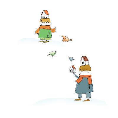 disegno di bambini in inverno con la neve che giocano con nidi e uccellini