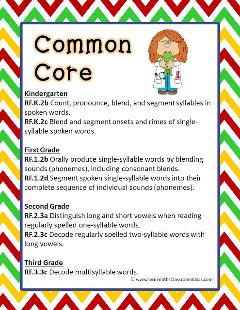 Fern Smith's Classroom Ideas Free Back to School Syllable Sort Sample ~ Full Back to School Syllable Sort available at TeacherspayTeachers.