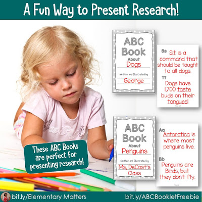 A Fun Way to Present Research! It's fun for children to show off what they learned by making an ABC book of their knowledge! This blog post has suggestions, examples, and a freebie to help the chldren share their learning!