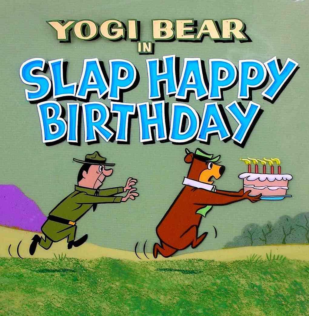 "a Hanna Barbera television animation title ""Yogi Bear in SLAP HAPPY BIRTHDAY"". Ranger Smith chases Yogi stealing a cake."