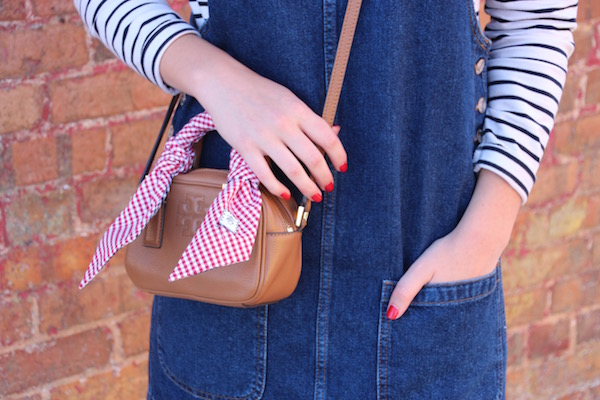 Gimme Glamour: Denim Jumper. Overall dress, striped shirt, tory burch cross body with gingham scarf