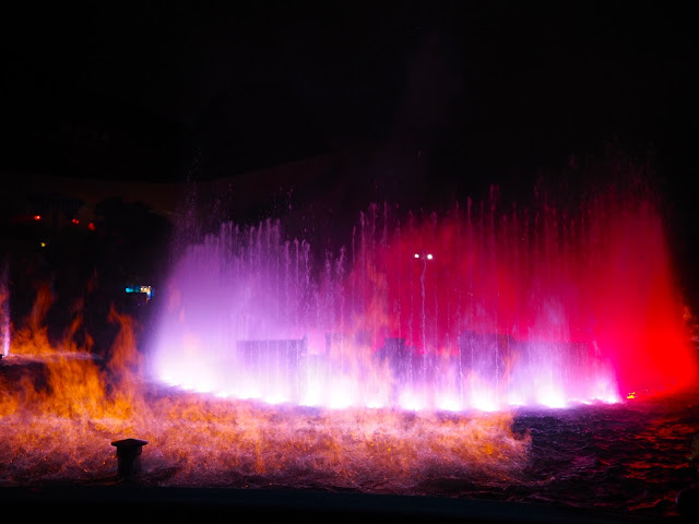 Fountains and flames during Symbio show, Ocean Park