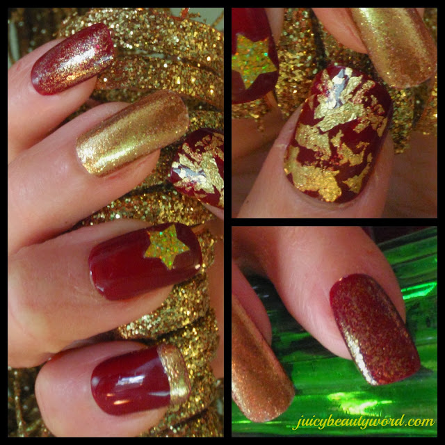 red and gold holiday nail designs