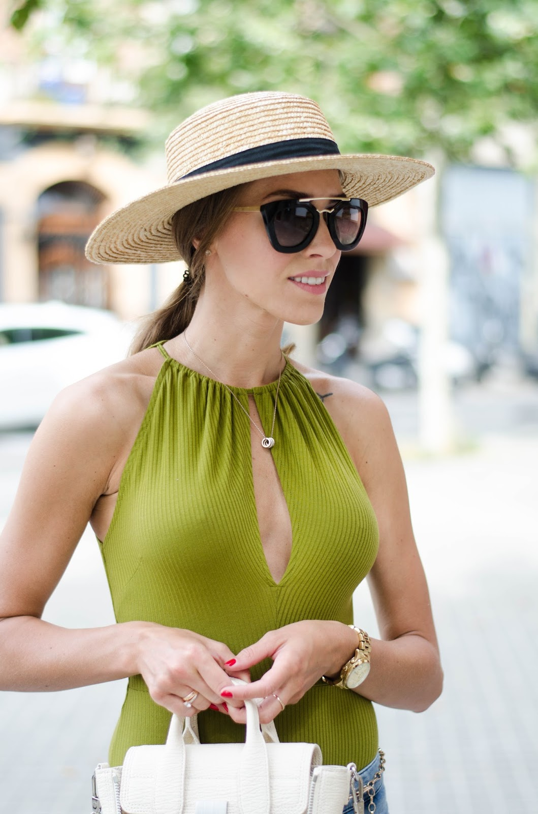 green body straw hat summer outfit