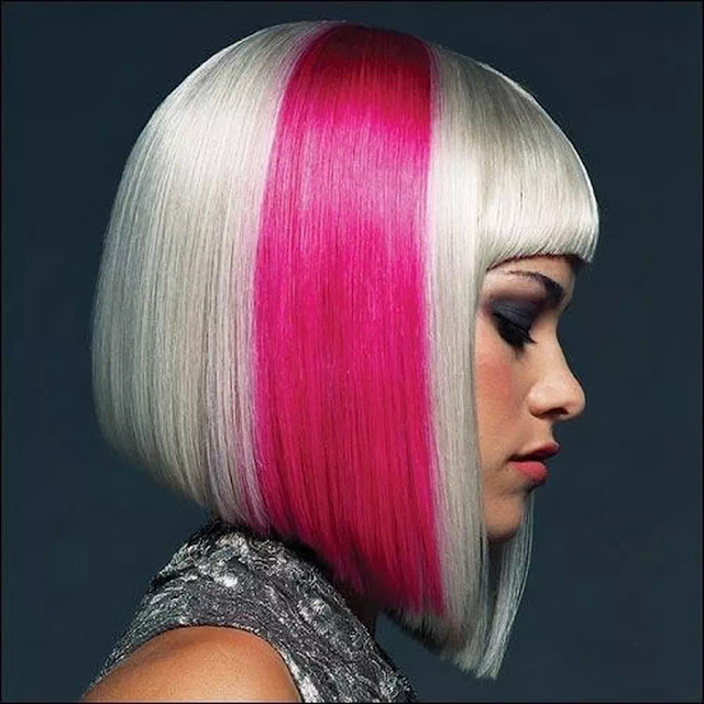 pink and silver ombre hairstyle