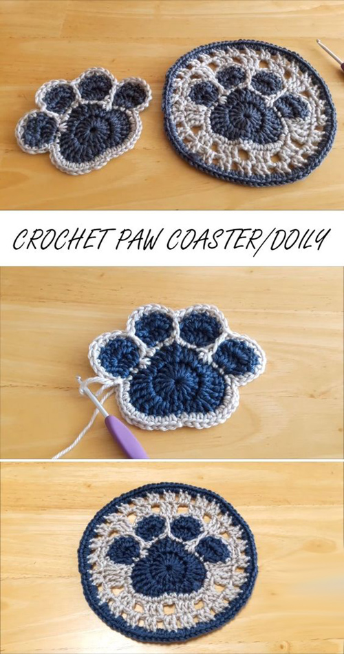 How To Crochet A Paw Coaster or Doily -  Tutorial
