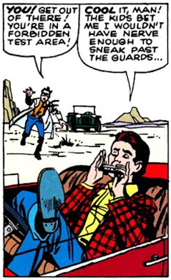 Rick Jones, Incredible Hulk #1, Rick plays a harmonica in his car as Bruce banner rushes towards him with the Gamma Bomb about to go off