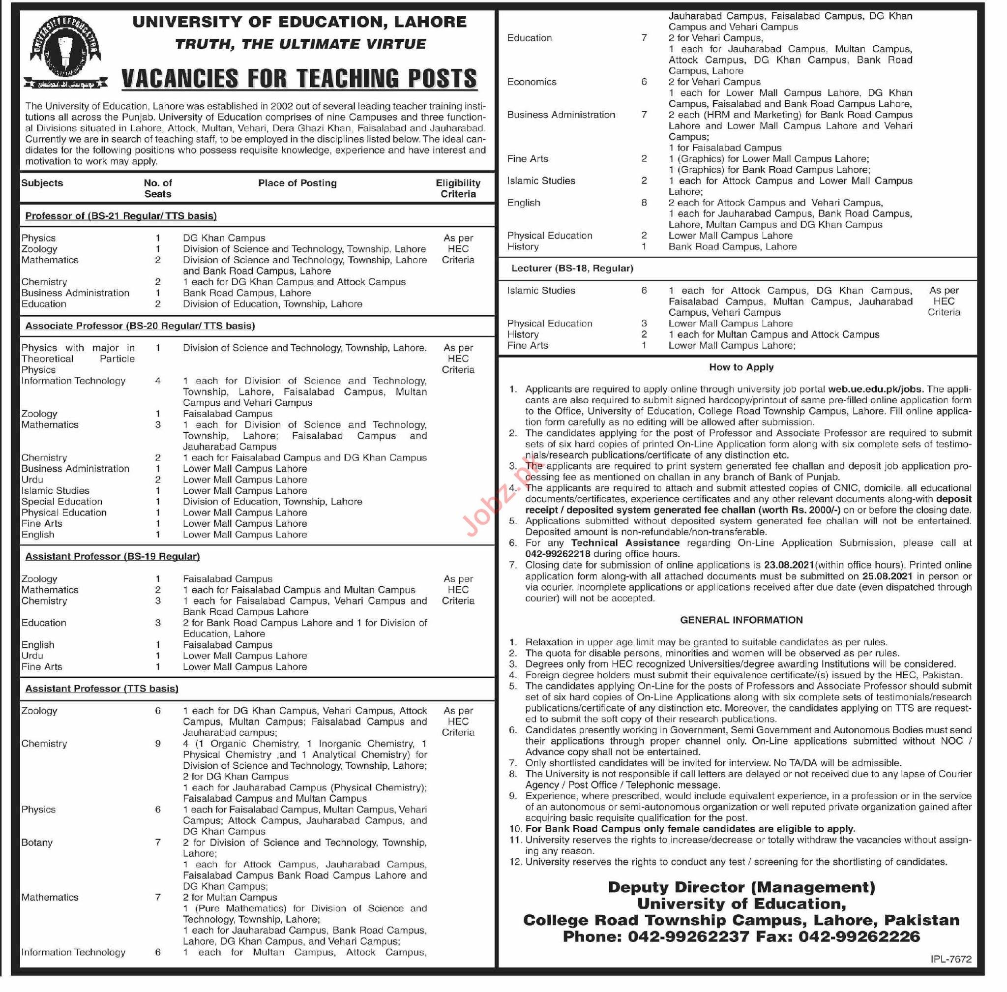 University of Education Lahore Jobs for Professor & Lecturer