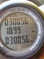 Digital watch time:  3:00:56 hours; 18.99 miles