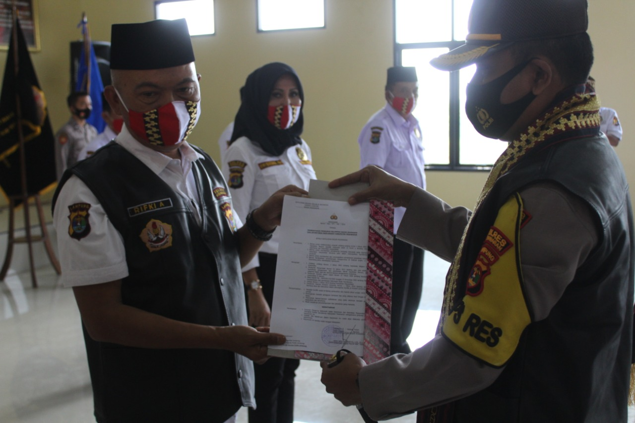 Polres Pesawaran Gelar Acara Pengukuhan / Pelantikan Pokdar Kamtibmas Kabupaten Pesawaran