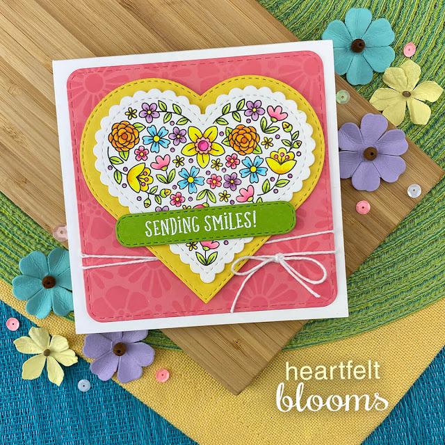 Sending Smiles card by Jennifer Jackson | Heartfelt Blooms Stamp Set, Heart Frames Die Set, Banner Trio Die Set and Frames Squared Die Set by Newton's Nook Designs #newtonsnook